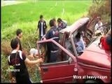 Young Couple In Old Mitsubishi T-Boned
