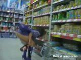 Girl flashes her pussy in the supermarket