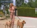 Hot Girl Walking The Dogs Naked