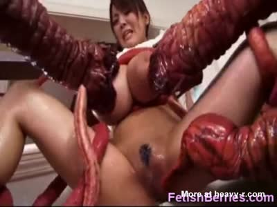 Tentacles Attack Girl With Huge Tits