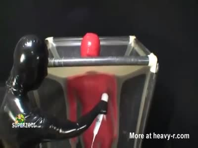 Latex Slave Forced To Cum In Vac Cube