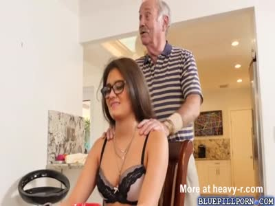 Young Teen Gives Blowjob To Gramps