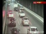 Man drives caravan 12km on wrong side of road