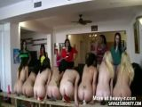 Row Of College Whores Riding Dildos