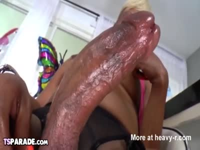 Black Tgirl Holly Hung Pleases Herself