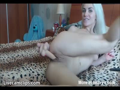 Blonde Girlfriend Rides Her Dildo