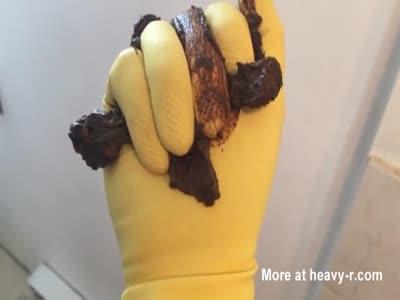 Yellow Rubber Glove Shit Squishing