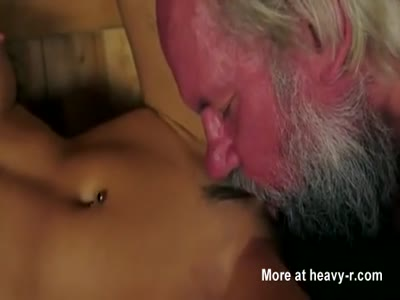 Hot Babe Seduces Old Grandpa In Sauna
