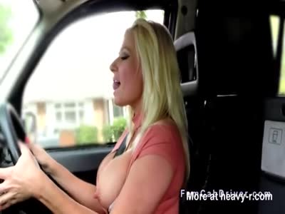 Bare huge boobs blonde riding fake taxi