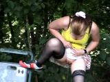 Cutie pissing in the park