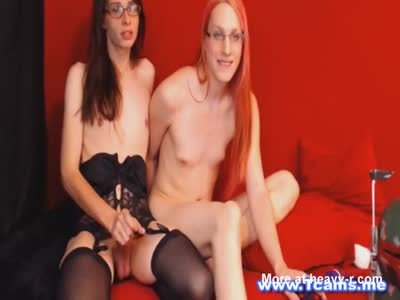 Two Horny Shemale Jerking Hard on Cam