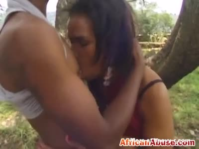 Curvy African chick slammed from behind