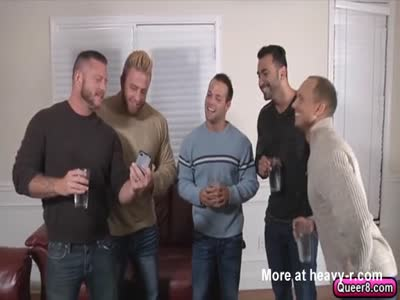 Hot five man gay ass fuck orgy