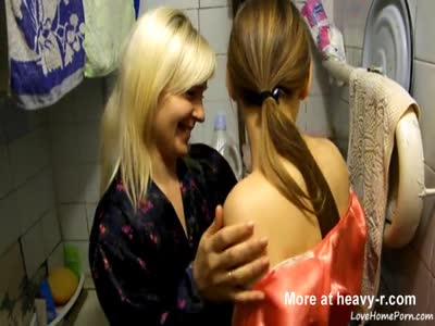 Two Girls Playing In Bathroom