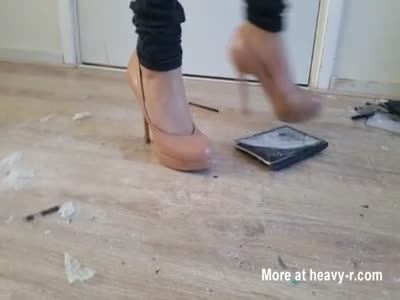 Mum Crushes Kids Tablets With High Heels