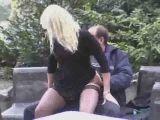 Dirty guy has sex in public