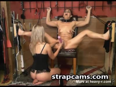 BDSM lesbian sex slave gets pussy toyed