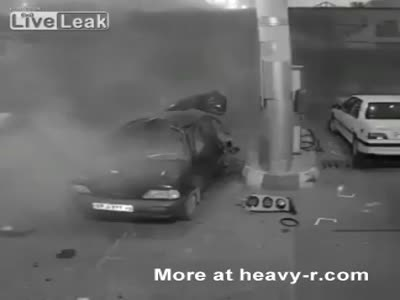 Car Explodes At Gas Station