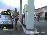 Naked Girl Pumping Gas