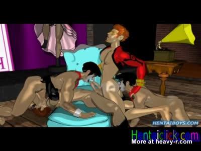 Big muscular hentai gay hunk group gangbanged