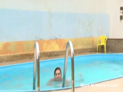 Pissing Girl in Pool HD Video