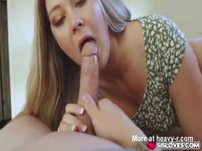 Sweet babe Addison Lee sucking hard massive dick