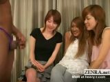 Clothed Japanese Girls Playing With Black Dick