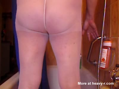Shitting Out A Big Apple In White Pantyhose