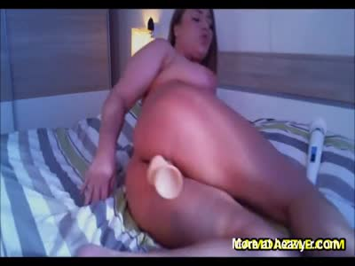 Busty Fat Chick Plays With Dildo