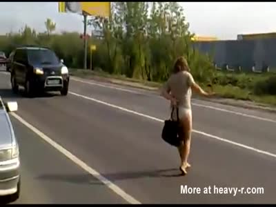 Girl on drugs walking naked in streets