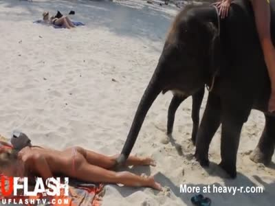 Topless Teen Molested by Elephant