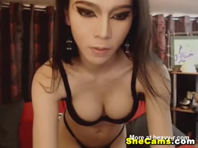 Hot Busty Shemale Strips and Jerks Off