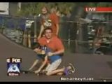 Fat Reporter Accidentally Destroys Kid On Skateboard