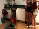 Girls Play With Handyman's Cock