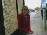 Teen dildos herself at busstop