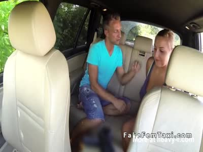 Fat cab driver with huge natural tits bangs in public