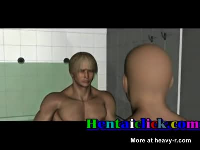 Muscular hentai gay hunks grouucked in locker