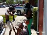 Baby Gets Caught Up In Nasty Street Fight