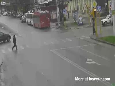 SUV Runs Over Pedestrian
