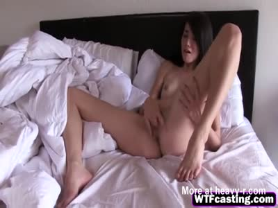 Flexible Brunette Masturbates And Sucks Cock