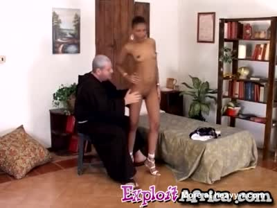 Young African chick sucks white dick