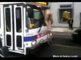Man Climbs Bus Naked