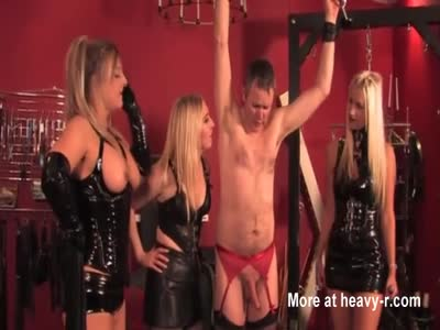 Mistresses deal with pathetic slave