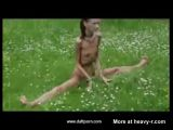 Anorexic Girl Doing Naked Exercises Outdoor