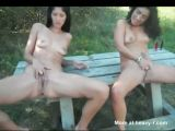Lesbians Outdoors Pissing On Bench