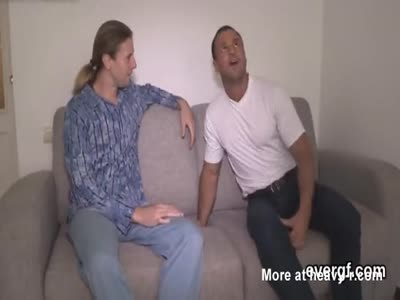 Indebted stud allows wicked friend to penetrate his companio
