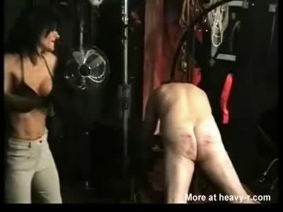 Strict Mistress canes sub male