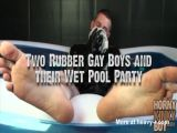 Two Rubber Gay Boys and their Wet Pool Party
