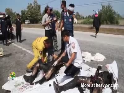 Badly Burned Corpses After Traffic Accident