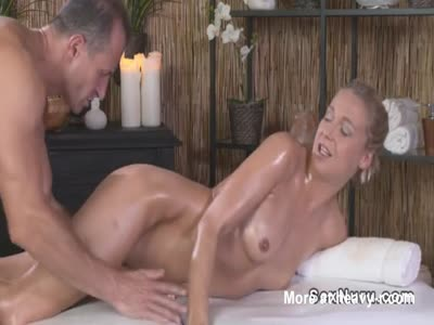 Oiled Up Blonde Fucked On Massage Table